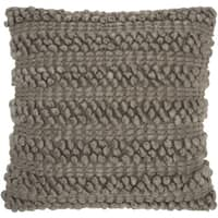 Mina Victory Lifestyle Woven Stripes Silver/Grey Throw Pillow by Nourison (20 x 20-inch)