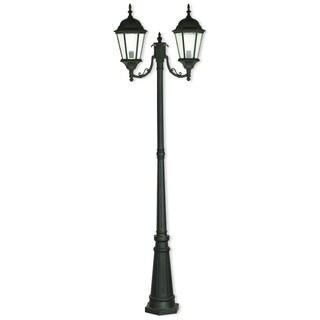 Livex Lighting Hamilton Black Aluminum 2-light Textured Outdoor Post Light