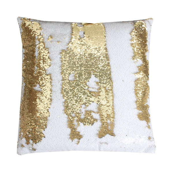 Attractive Melody Mermaid Reversible Sequin 20-inch Feather-filled Pillow  II14