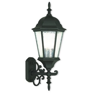 Livex Lighting Hamilton Black Textured Aluminum 3-light Outdoor Wall Lantern