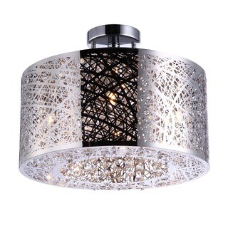 Bromi Design Royal Metal/Crystal 4-light Drum Pendant - Brown