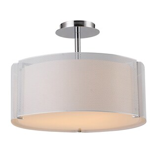 Bromi Design Lynch Iron Mesh White Drum Pendant
