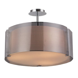 Lynch Iron Mesh Chrome 3-light Drum Pendant Lamp