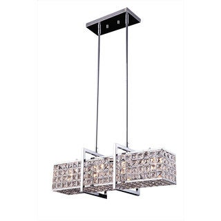 Halo Metal/Crystal 4-light Modern Pendant - Chrome