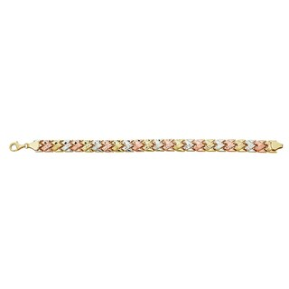 Decadence 14k Tri-color Gold Link Bracelet