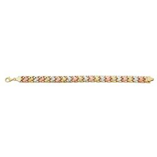 Decadence 14k Tri-color Gold Link Bracelet
