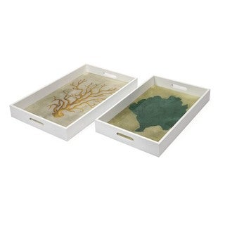 Sea Fan Wood and Glass Trays (Set of 2)