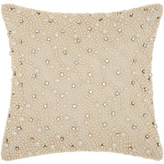 kathy ireland Pearls And Diamonds Ivory Throw Pillow by Nourison (12 x 12-inch)