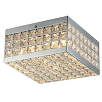 Olwenn Square Chrome-finish Crystal 5-inch 4-light Flush-mount Fixture