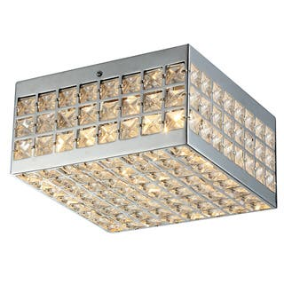 Clear warehouse of tiffany flush mount lighting for less overstock olwenn square chrome finish crystal 5 inch 4 light flush mount fixture aloadofball Image collections