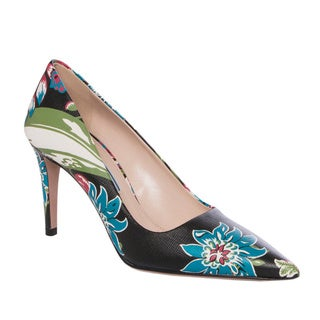 Prada Floral-print Leather Point-toe Pumps 5 Size(As Is Item)