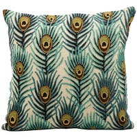 kathy ireland Peacock Feathers Multicolor Throw Pillow by Nourison (18 x 18-inch)