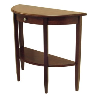High Quality Winsome Concord Hall Wallnut Brown Wood Half Moon Console Table With Drawer  And Shelf