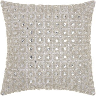 kathy ireland Marble Beads White Throw Pillow by Nourison (12-Inch X 12-Inch)