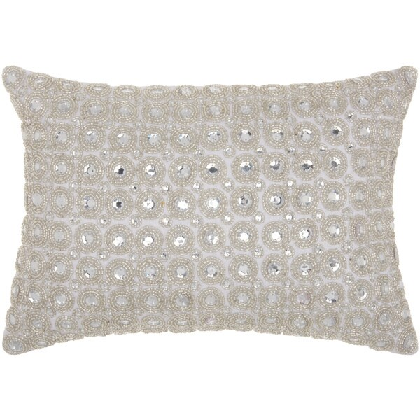 kathy ireland Marble Beads White Throw Pillow by Nourison (10-Inch X 14-Inch)