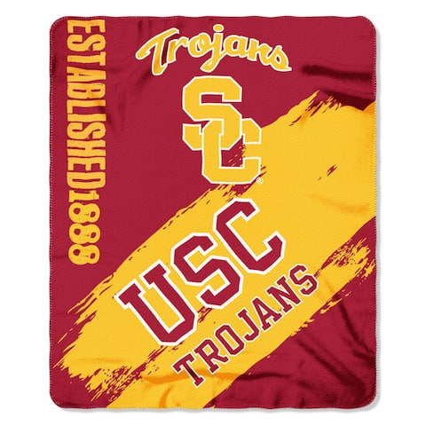USC Trojans Red and Yellow Painted Fleece Throw Blanket