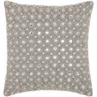 kathy ireland Marble Beads Silver Throw Pillow by Nourison (12 x 12-inch)