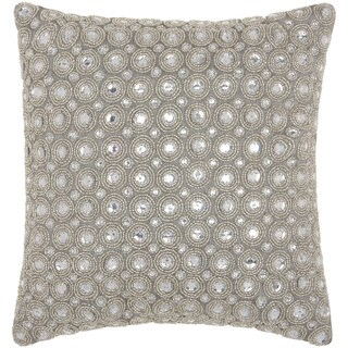 kathy ireland Marble Beads Silver Throw Pillow by Nourison (12-Inch X 12-Inch)