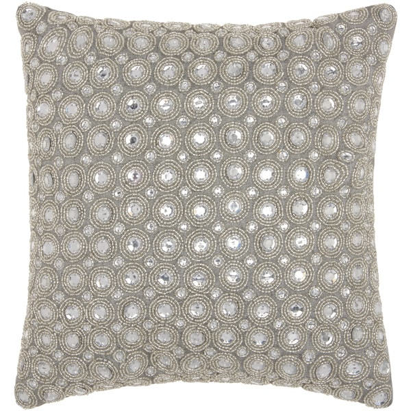 kathy ireland Marble Beads Silver Throw Pillow by Nourison (12-Inch X 12-Inch). Opens flyout.