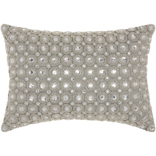 kathy ireland Marble Beads Silver Throw Pillow by Nourison (10 x 14-inch)