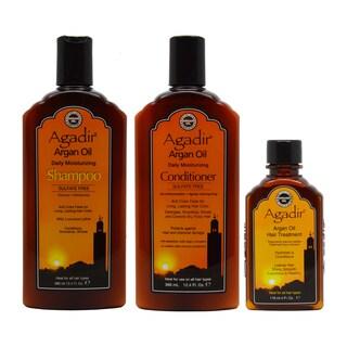 Agadir Argan Oil Daily Moisturizing Shampoo, Conditioner, and Hair Treatment