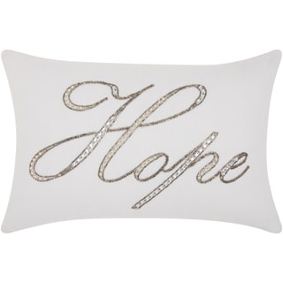kathy ireland Beaded Hope White Throw Pillow by Nourison (12 x 18-inch)