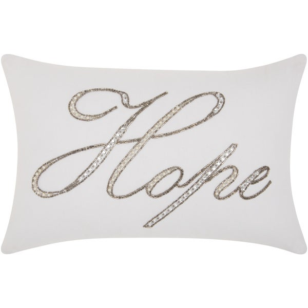 kathy ireland Beaded Hope White Throw Pillow by Nourison (12-Inch X 18-Inch)