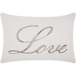 kathy ireland Beaded Love White Throw Pillow by Nourison (12 x 18-inch)