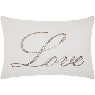 The Gray Barn Tanque Verde 'Love' Beaded White Throw Pillow