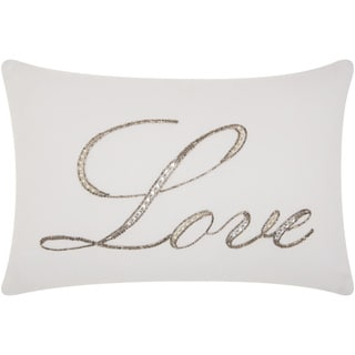 Silver Orchid Goya 'Love' Beaded White Throw Pillow