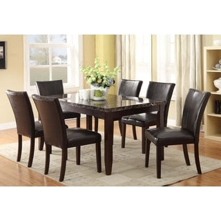 Annie Brown Faux-leather, Veneer, and Wood 7-piece Dining Set