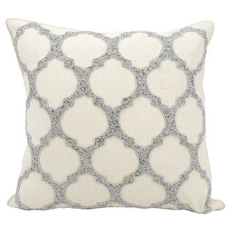 kathy ireland Beaded Lattice Silver Throw Pillow by Nourison (20 x 20-inch)