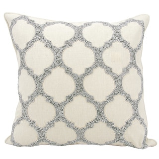kathy ireland Beaded Lattice Silver Throw Pillow by Nourison (20-Inch X 20-Inch)