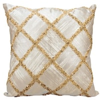 kathy ireland Beaded Diamonds Gold Throw Pillow by Nourison (20 x 20-inch)