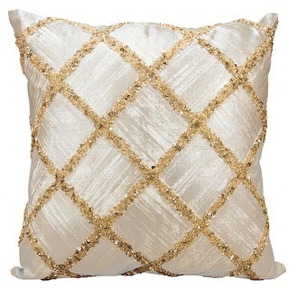 kathy ireland Beaded Diamonds Gold Throw Pillow by Nourison (20-Inch X 20-Inch)