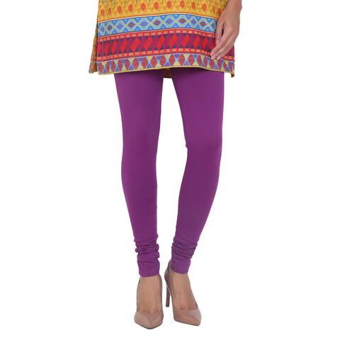Handmade In-Sattva Women's Purple Cotton Leggings (India)