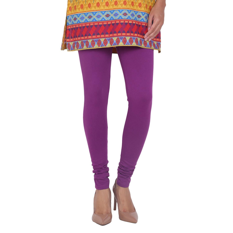 In-Sattva Women's Purple Cotton Leggings (Mauve, M), Red