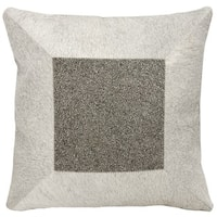 Mina Victory Natural Hide Jeweled Cube Grey/ Pewter 16 x 16-inch Throw Pillow by Nourison