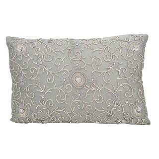 Mina Victory Luster Diamond Flower Vine Grey 12 x 18-inch Throw Pillow by Nourison