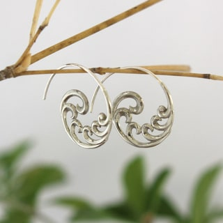 Spirit Tribal Fusion Fibonacci Swirl White Brass Earrings (Bali)