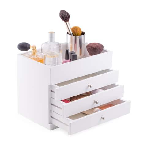 Nadja Open-top White Wood Makeup Vanity Case