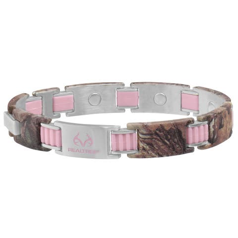 Sabona Realtree Women's 448 Pink Link and Camo Magnetic Bracelet
