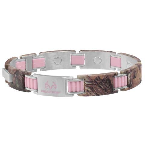 Sabona Realtree Women's 448 Pink Link and Camo Magnetic Bracelet