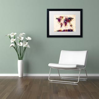 Michael Tompsett 'World Map Paint Splashes 2' Matted Framed Art