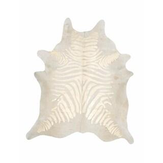 Handmade Devore, Zebra Rustic Gold on Light Beige Rug (Brazil)