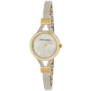 Laura Ashley Two-tone Gold Thin Bangle with Floral Dial Women's Watch