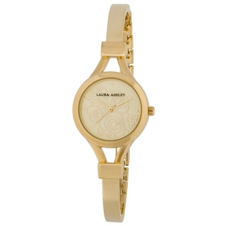 Laura Ashley Gold Mineral/Stainless Steel Women's Thin Bangle Floral Dial Watch