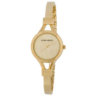 Laura Ashley Gold Mineral/Stainless Steel Women's Thin Bangle Floral Dial Watch|https://ak1.ostkcdn.com/images/products/12038496/P18910058.jpg?impolicy=medium
