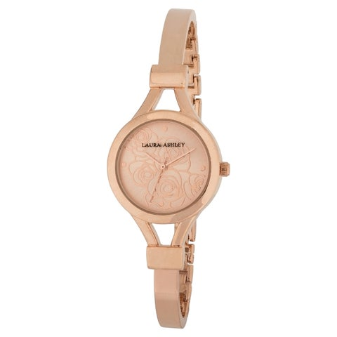 Laura Ashley Women's Rose Gold Mineral/Stainless Steel Thin Bangle Floral Dial Watch