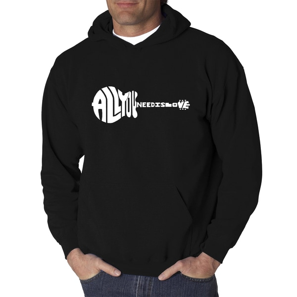 Los Angeles Pop Art Mens All You Need Is Love Black or Grey Cotton and Polyester Hooded Sweatshirt